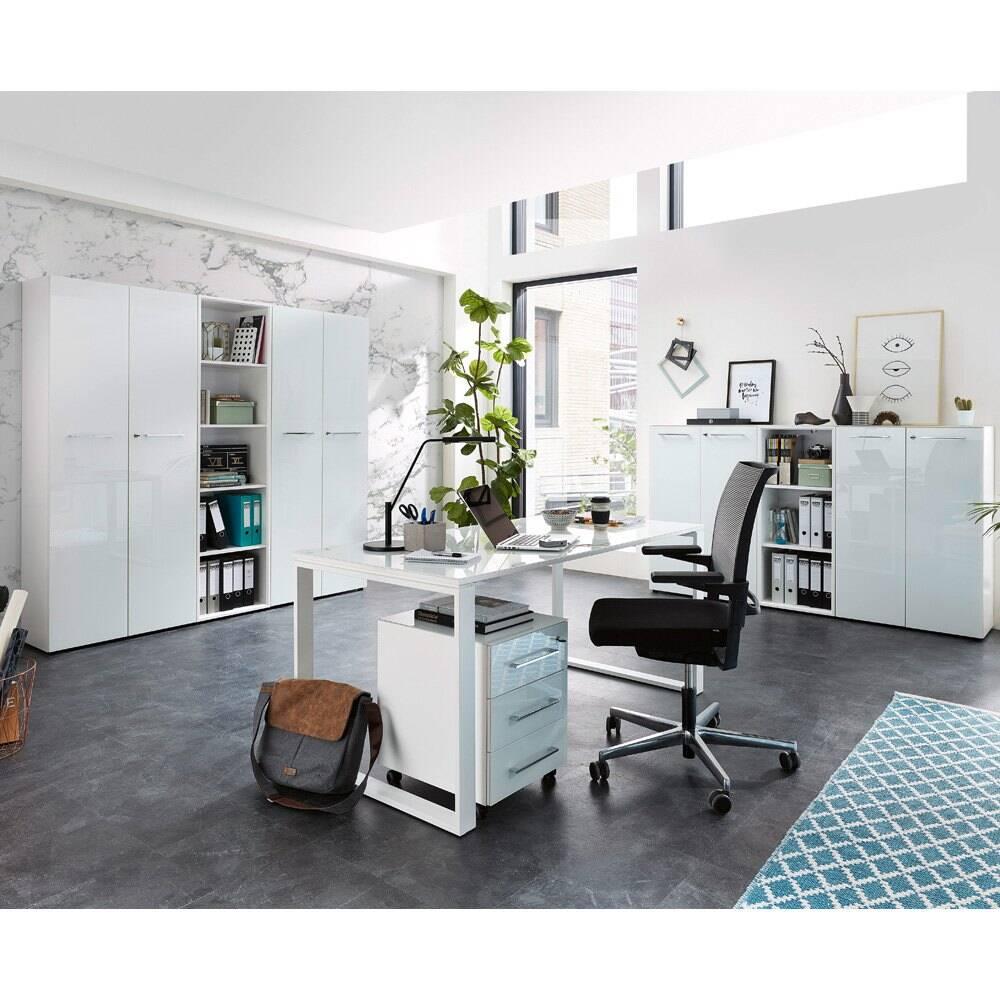 Büromöbel Komplett Set MONTERO-01 mit Glasfronten in weiß BxHxT ca.: 410 x 196 x 37 cm