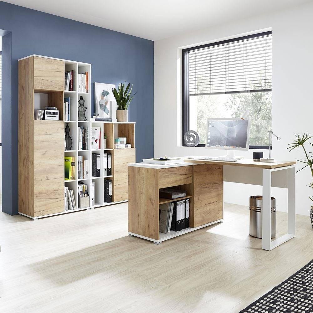 Büro Aktenschränke und Winkelschreibtisch Büromöbel-Set in Navarra Eiche Nb. und weiß GENT-01 BxHxT: 170x197x40cm
