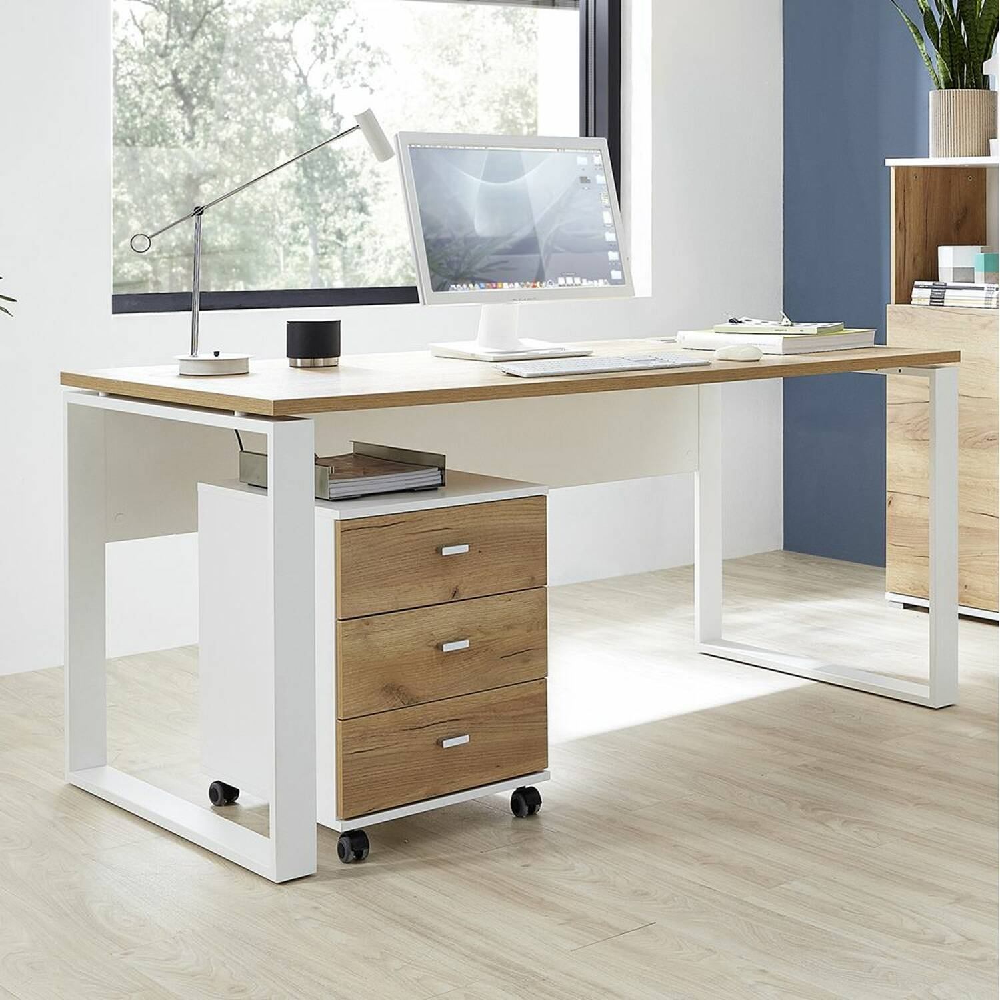 Büro Schreibtisch mit Metallkufen und Rollcontainer GENT-01 Navarra Eiche Nb. und weiß BxHxT ca. 158x75x79cm