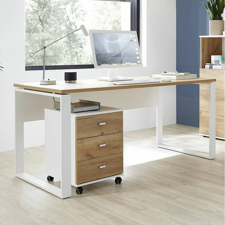 Büro Schreibtisch Mit Metallkufen Und Rollcontainer Gent 01 Navarra E