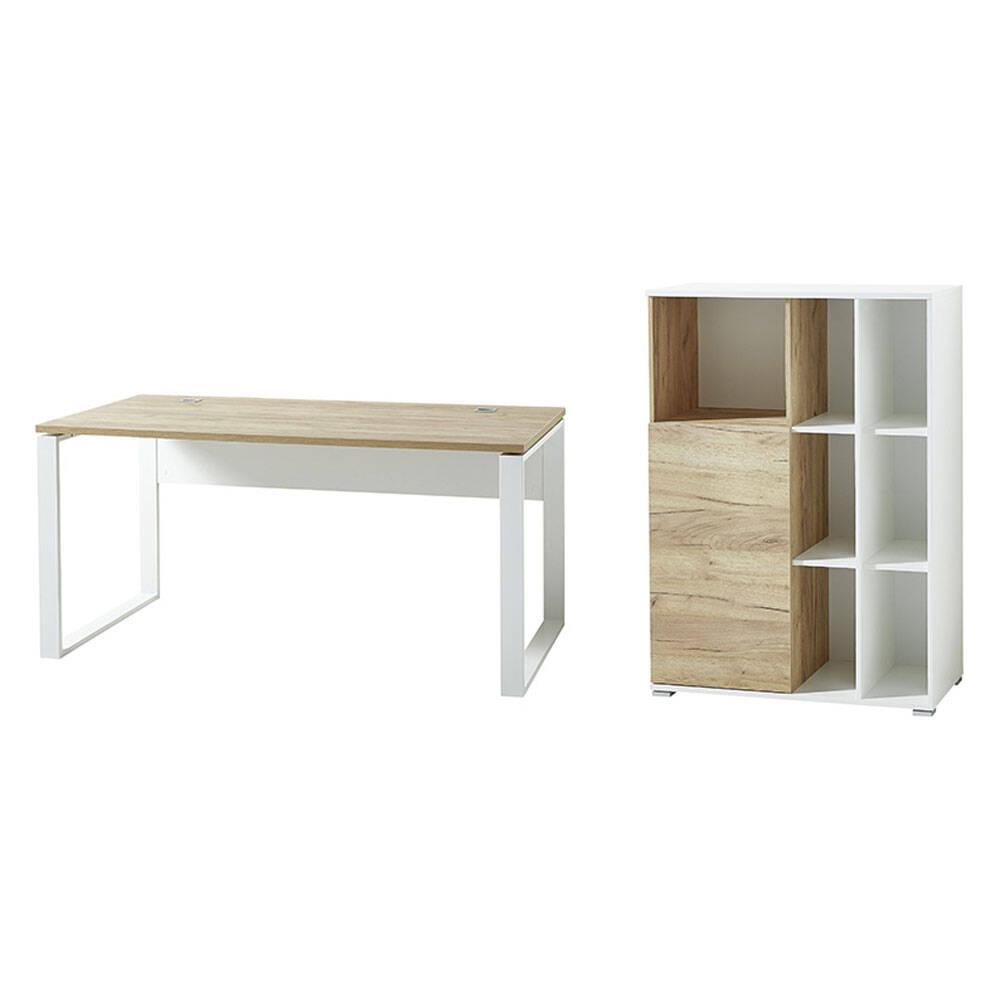 2-tlg. Büromöbel Kombi in Navarra Eiche Nb. und weiß Aktenschrank mit Schiebetür GENT-01 BxHxT: 258x120x79cm