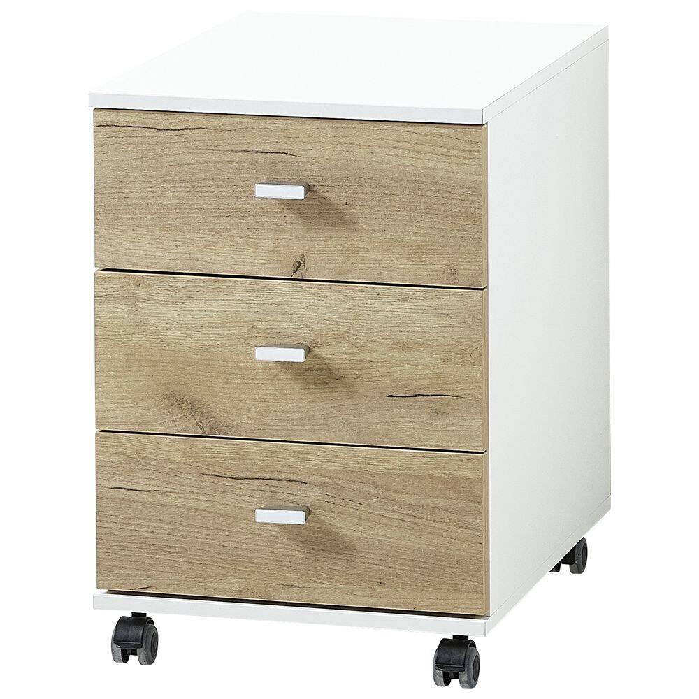 Büro Rollcontainer in Navarra Eiche Nb. und weiß GENT-01 BxHxT ca. 40x57x49cm mit Touch-Funktion