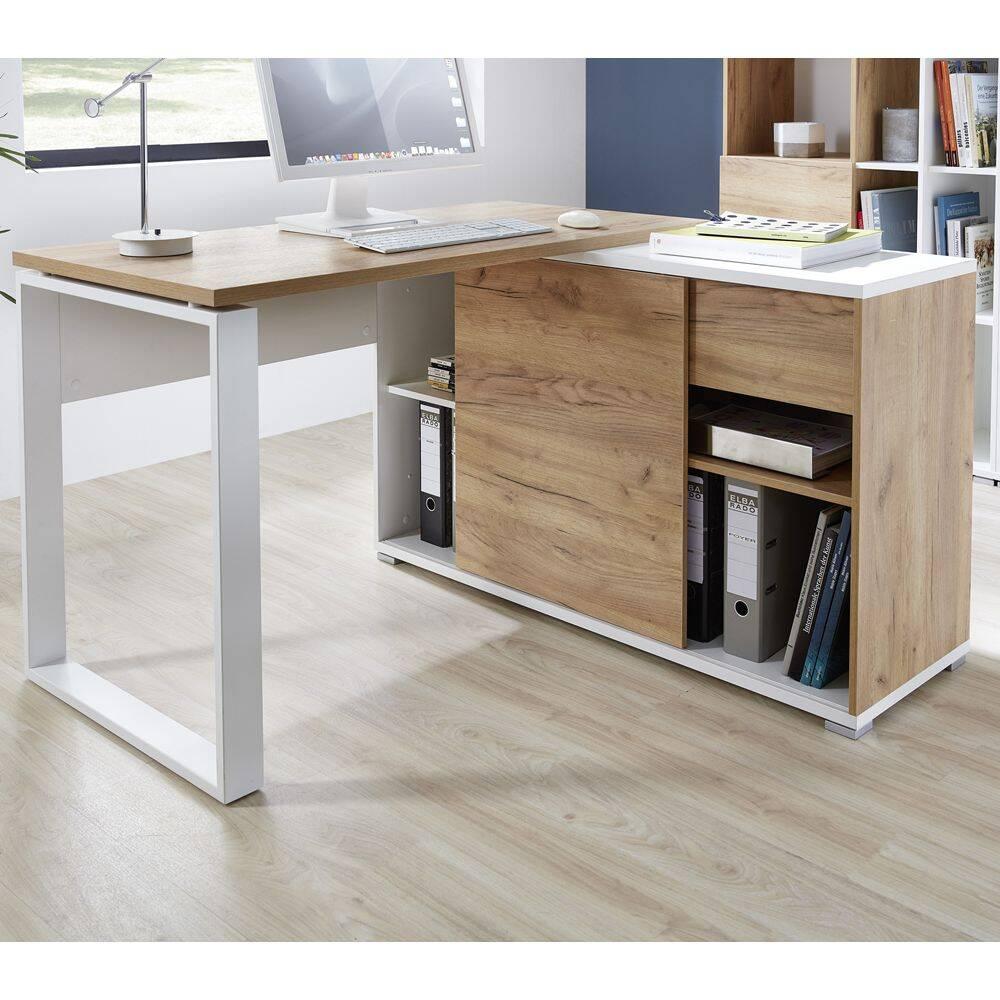 Büro Eck-Winkelschreibtisch mit integriertem Sideboard GENT-01 in Navarra Eiche Nb. und weiß BxHxT ca. 120x75x117cm