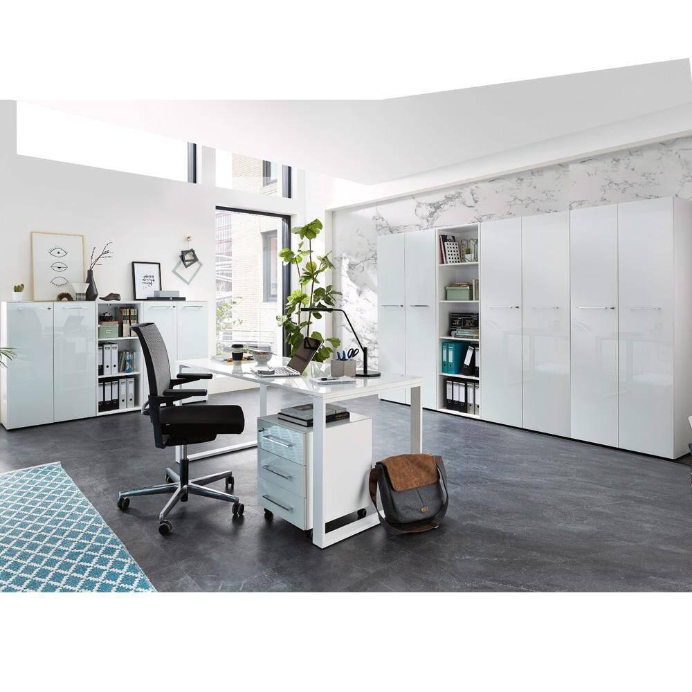 Büromöbel Komplett Set in weiß MONTERO-01 mit Glasfronten & Auflagen BxHxT ca.: 500 x 196 x 37 cm
