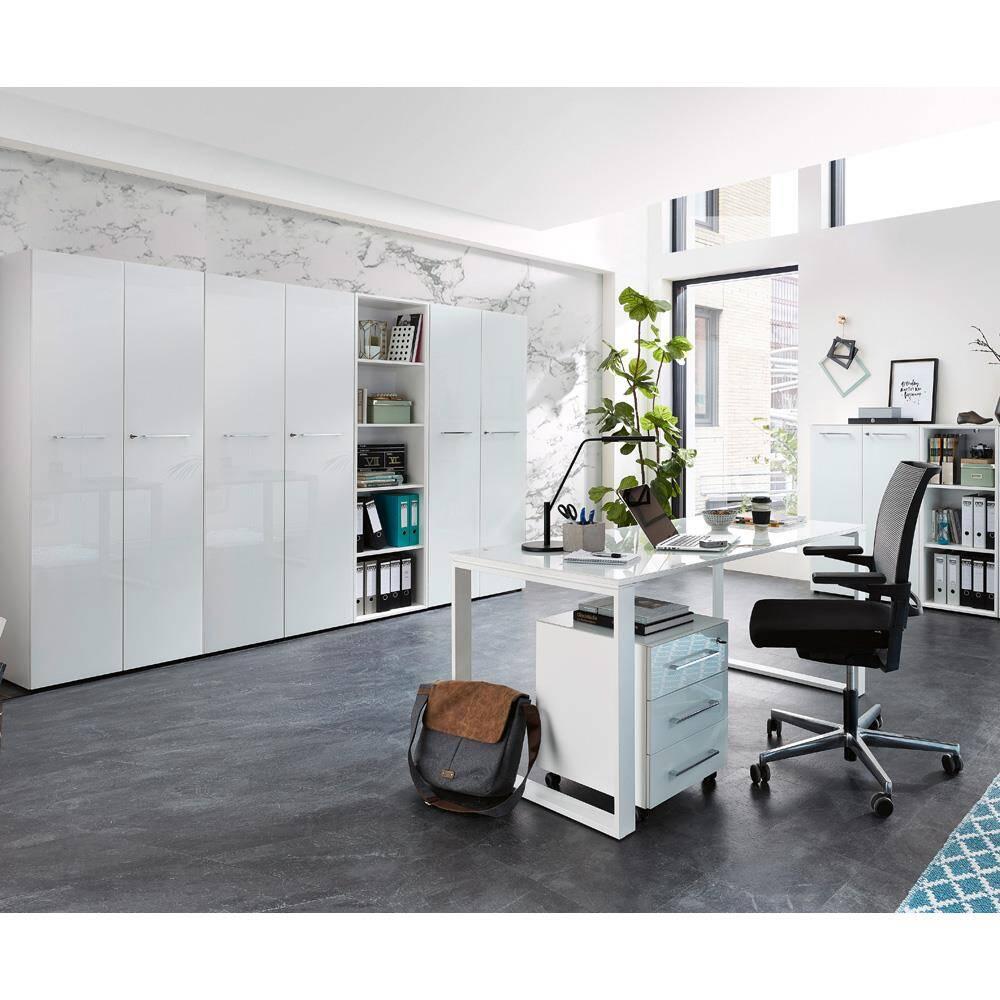 Büromöbel Komplettset mit hochwertigen Glasfronten MONTERO-01 in weiß BxHxT ca.: 420 x 196 x 37 cm