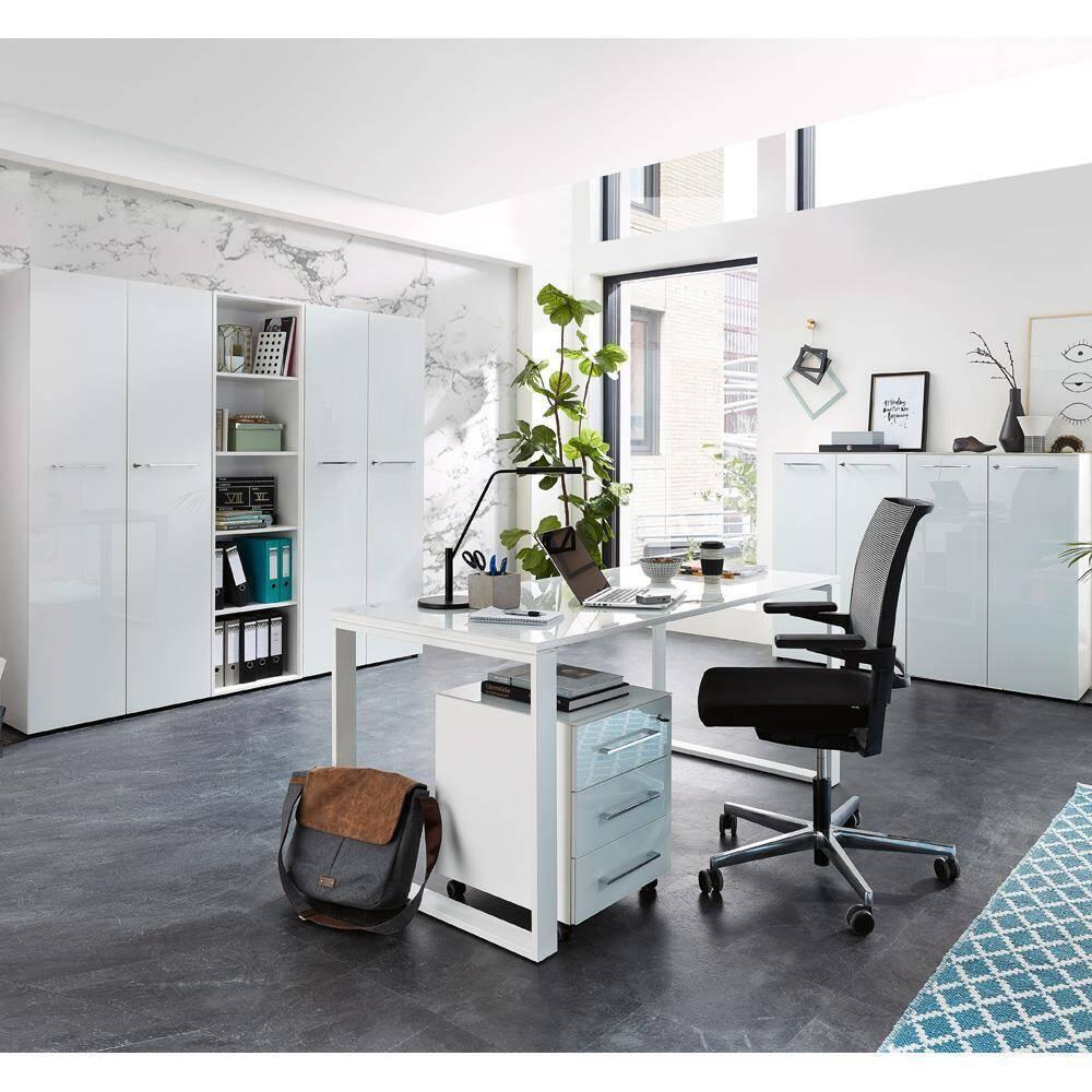 Büromöbel Set mit 4 Aktenschränken MONTERO-01 weiße Glasfronten & Auflagen BxHxT ca.: 370 x 196 x 37 cm