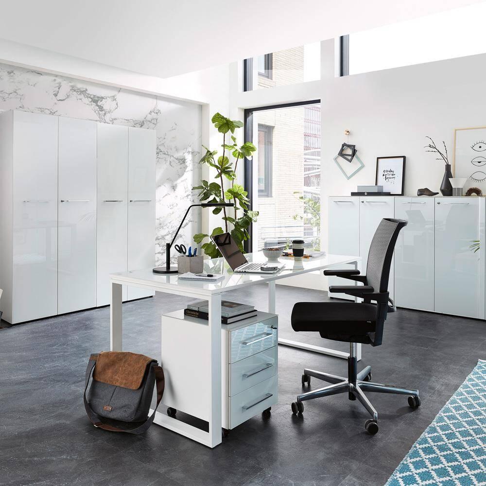 Büro-Möbel Set mit weißen Glasfronten & Auflagen MONTERO-01 komplett inkl. Schreibtisch und Rollcontainer BxHxT 320x196x37cm