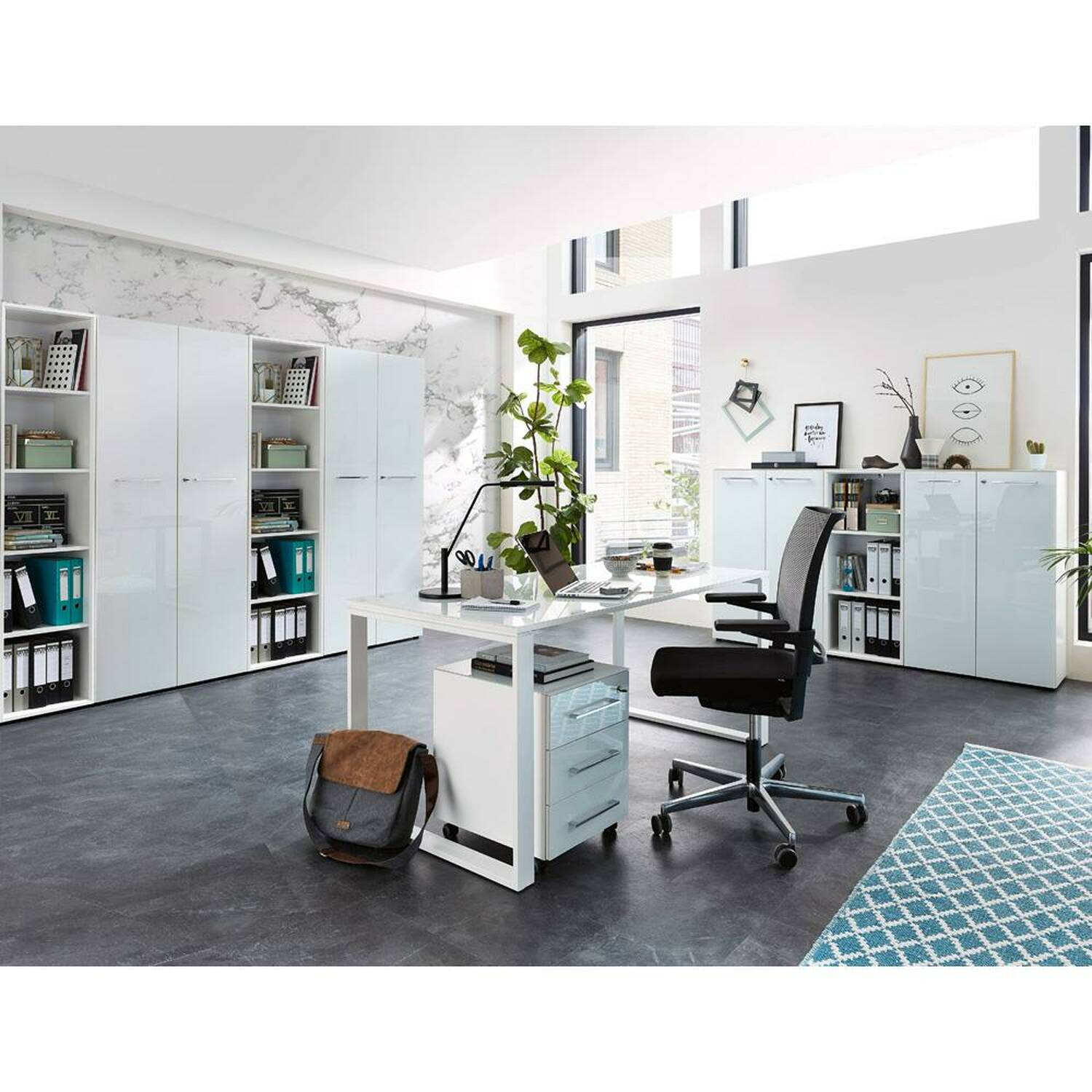Komplett Büromöbel Set MONTERO-01 mit Glasfronten in weiß und abschließbaren Türen BxHxT 420x196x37cm