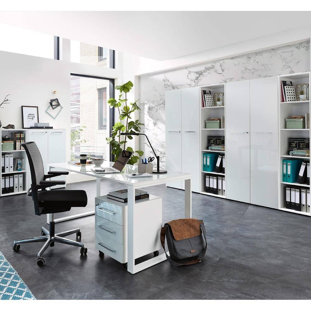 Büromöbel Set mit Glasfronten in weiß MONTERO-01 Aktenschränke Container und Schreibtisch BxHxT 390x196x37cm
