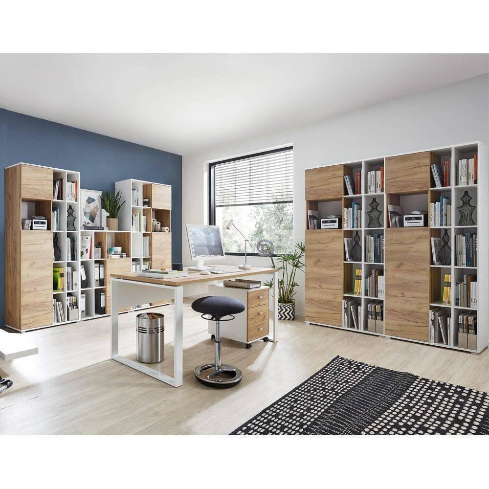 Büromöbel-Set GENT-01 in Navarra Eiche Nb. und weiß mit ABS Kanten und Schiebetüren BxHxT: 425x197x117cm