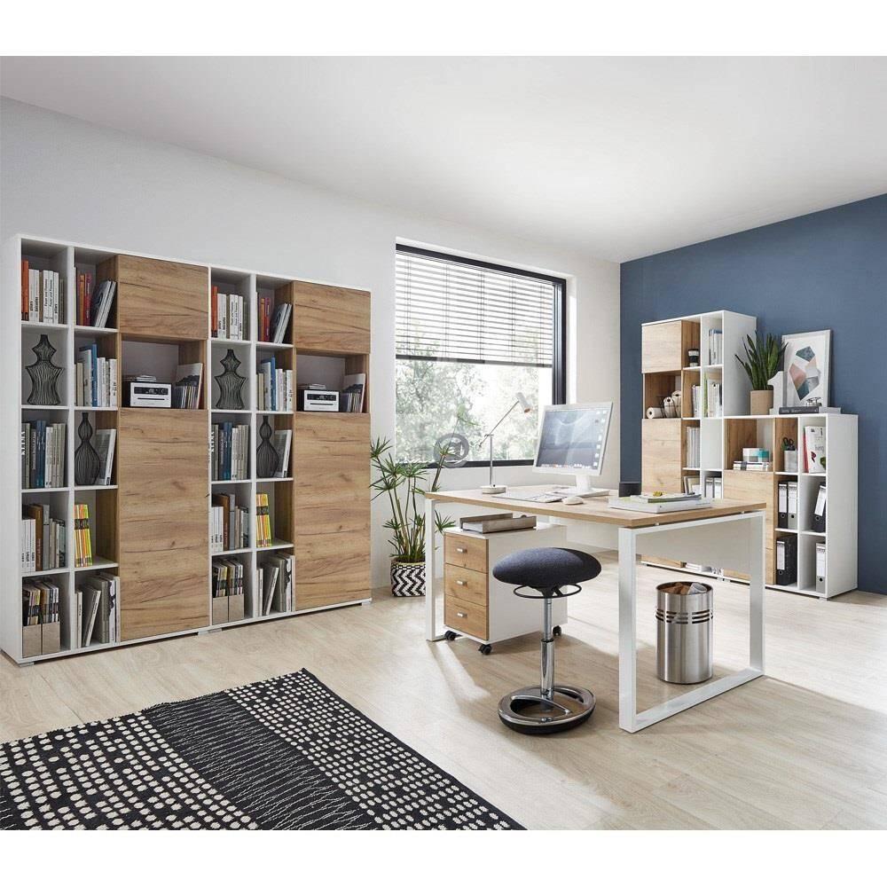 Büromöbel Set in weiß mit Navarra Eiche Nb. GENT-01 Schreibtisch mit Container BxHxT: 340x197x40cm