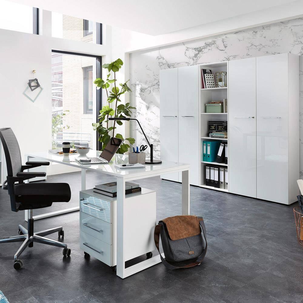 Büromöbel Set mit weißen Glasfronten MONTERO-01 Design Schreibtisch mit Glasplatte