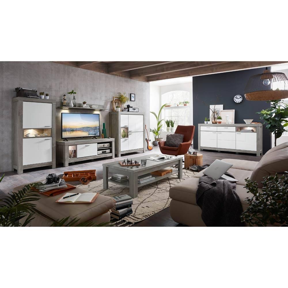 Kombination aus Wohnmöbeln GRONAU-55 in weiß matt und Haveleiche Nb. inkl. großem Sideboard BxHxT 585x160x47cm