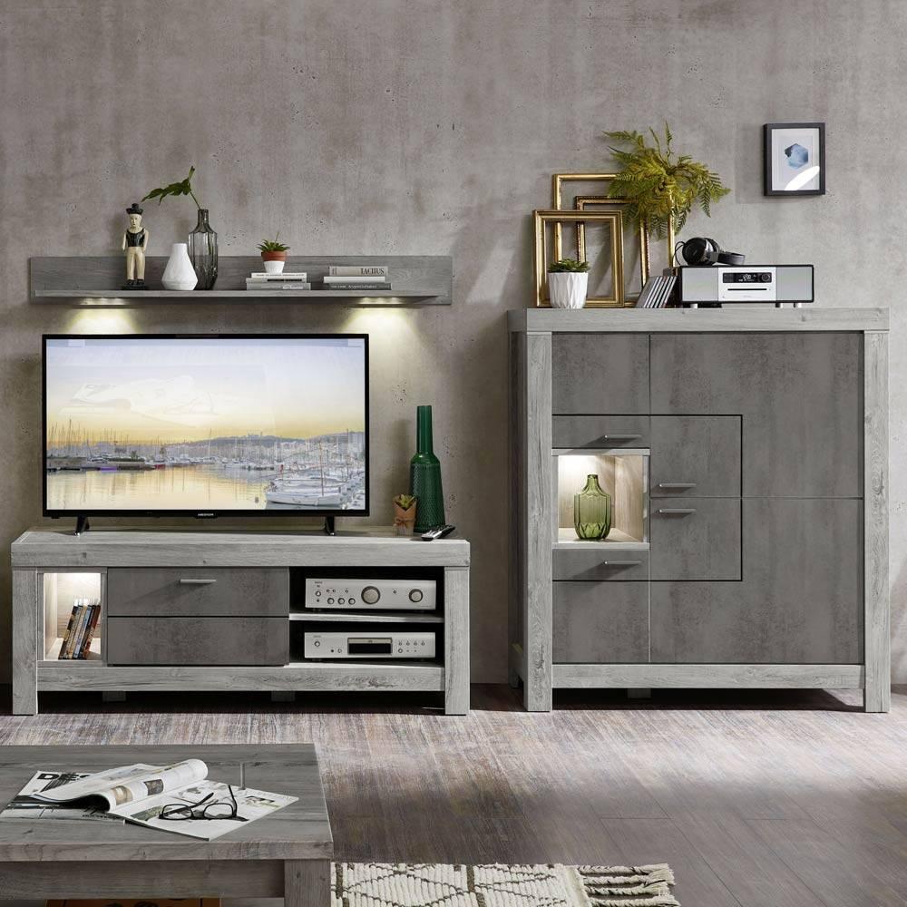 Wohnwand-Kombi mit TV-Lowboard GRONAU-55 in Betongrau und Haveleiche Nb. BxHxT 285x140x47cm