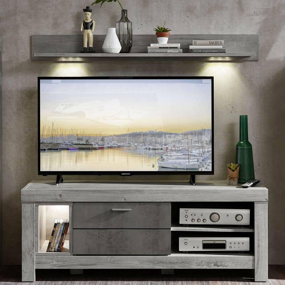 TV-Lowboard und Wandboard inkl. Beleuchtung GRONAU-55 in Betongrau und Haveleiche Nb.