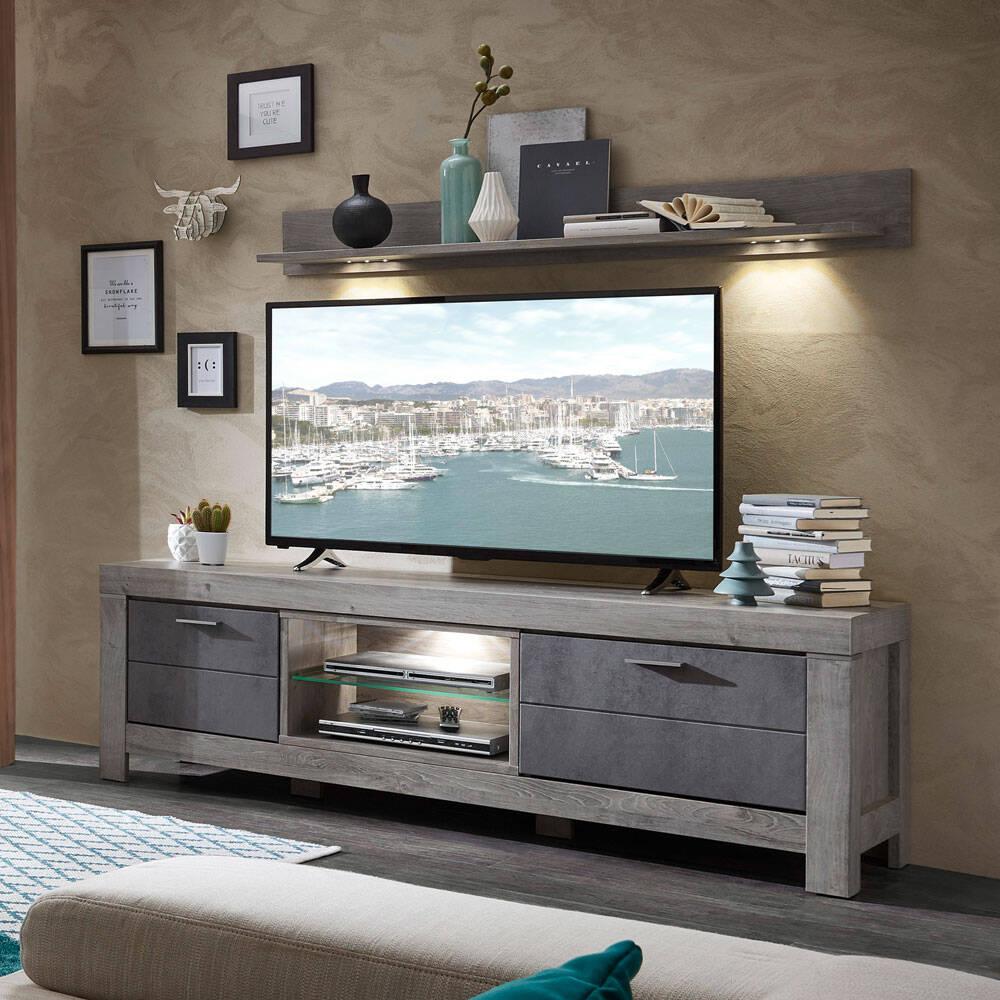Großes TV-Lowboard und Wandregal mit LED GRONAU-55 in Betongrau und Haveleiche Nb.