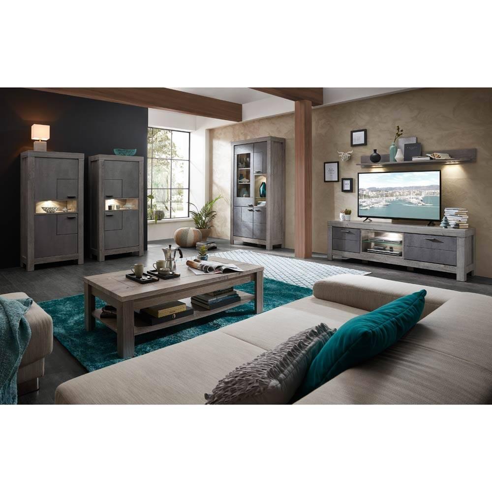 Wohnmöbel-Set 6-tlg GRONAU-55 in Betongrau und Haveleiche Nb. TV-Schrank und Vitrinen BxHxT 477x200x47cm
