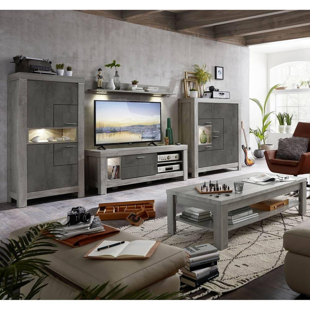 Moderne Wohnwand inkl. LED 5-tlg GRONAU-55 in Betongrau und Haveleiche Nb. mit Couchtisch