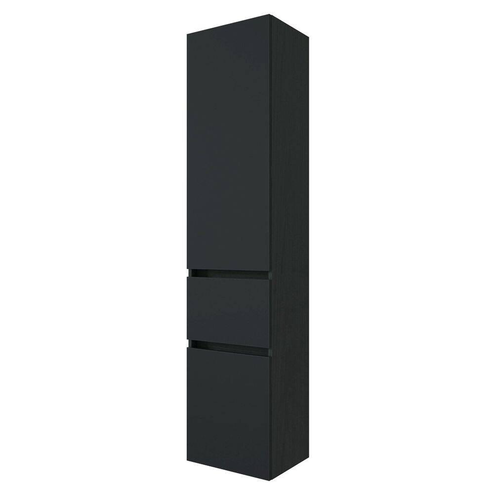 Bad-Möbel Hochschrank ARLON-03 matt schwarz BxHxT 40x180x35 cm