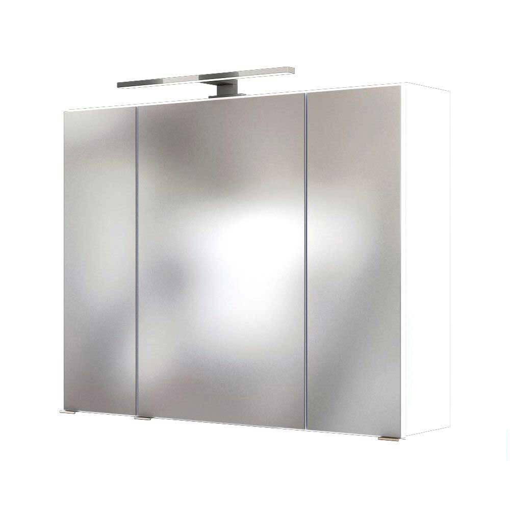 Badmöbel LED Spiegelschrank 80 cm ARLON-03 in weiß BxHxT: 80 x 66 x 20 cm
