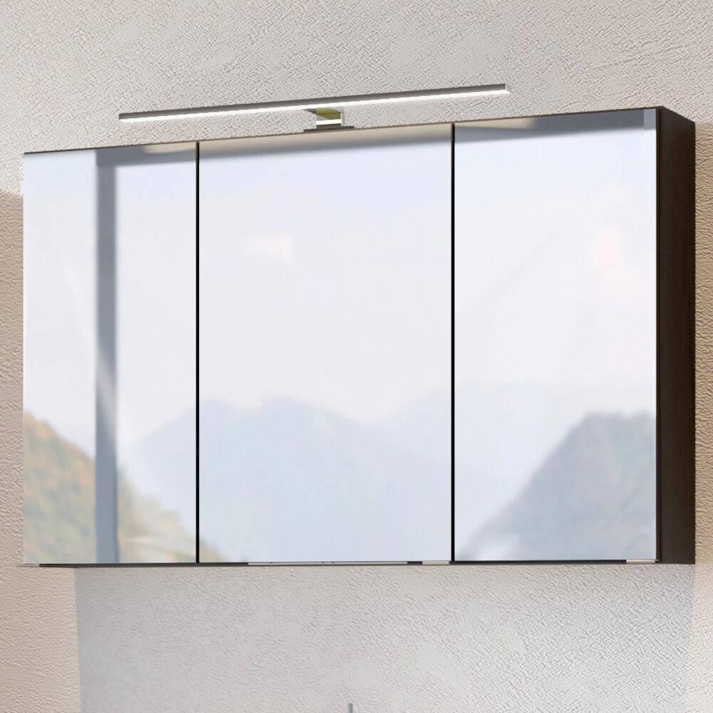Badmöbel Spiegelschrank mit LED 100 cm ARLON-03 graphit BxHxT 100x66x20 cm