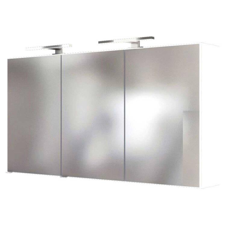 Badezimmer LED Spiegelschrank 120 cm ARLON-03 matt weiß BxHxT 120x66x2