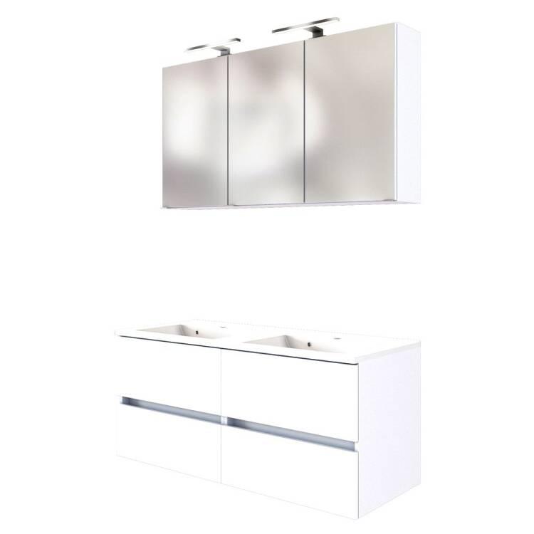 Badezimmer LED Spiegelschrank 120 cm ARLON-03 matt weiß BxHxT 120x66x20 cm