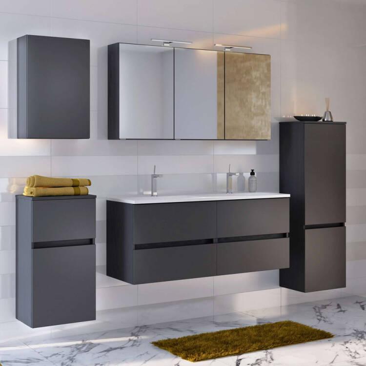 Doppel Waschtisch-Unterschrank inkl. Waschbecken 120 ARLON-03 matt grau  BxHxT 120x56x47 cm