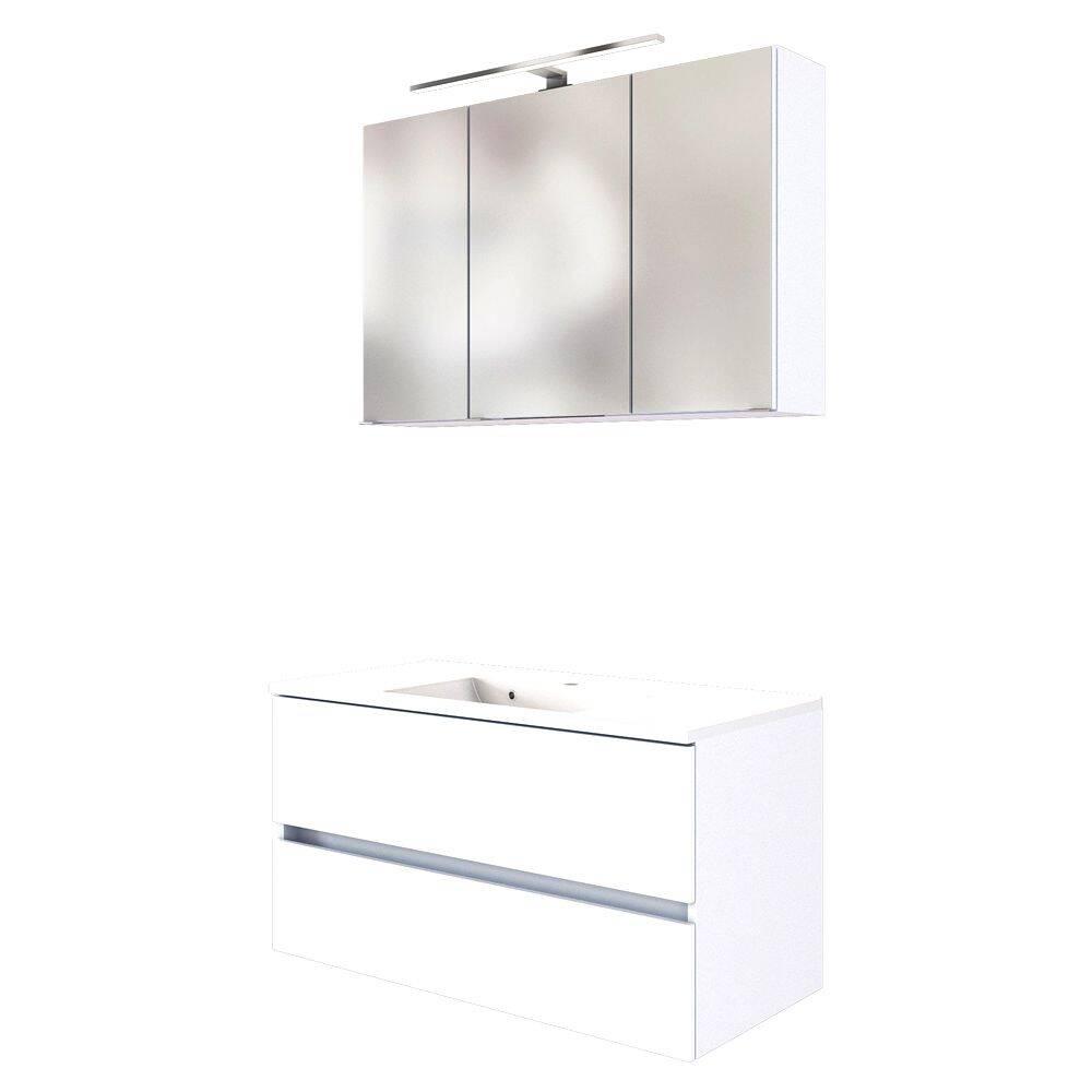 Badmöbel Waschplatz-Set 100 cm inkl. LED Spiegelschrank ARLON-03 matt weiß BxHxT 100x200x55 cm