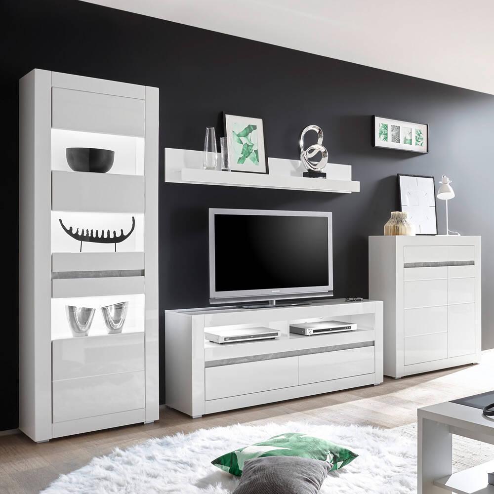 Wohnzimmer TV-Wand in Hochglanz weiß COGO-61 inkl. Beleuchtung und mit Griffmulden in Betonoptik BxHxT: 336x198x42cm