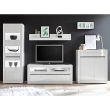 Living room wall unit in high gloss white COGO-61 incl....