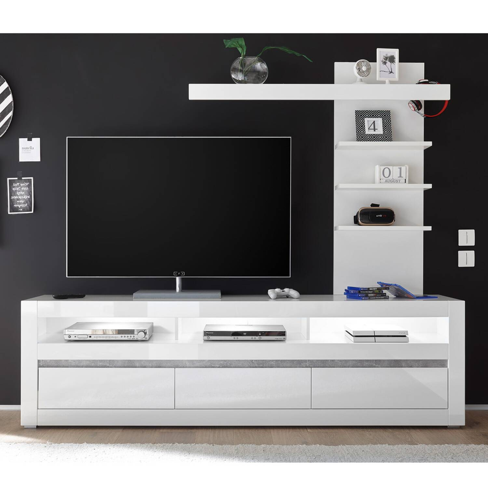 TV-Lowboard in weiß Hochglanz inkl. LED und mit Griffmulden mit Aufsatzregal COGO-61 BxHxT: 217x163x42cm