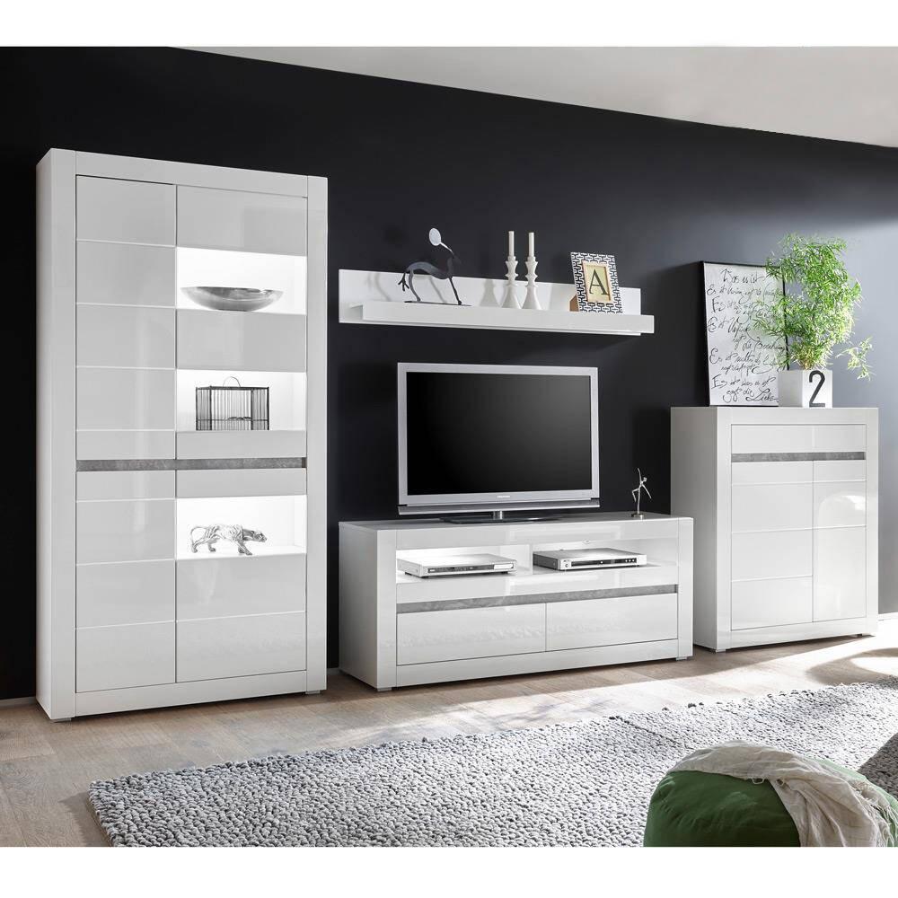 Wohnwand in weiß Hochglanz mit Beton COGO-61 inkl. LED BxHxT: 370x198x42cm