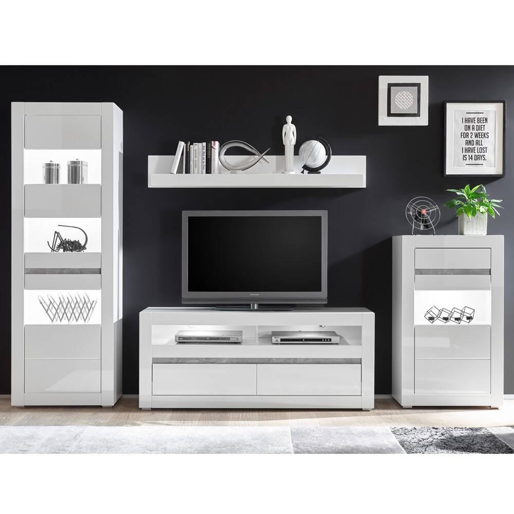 Moderne Wohnwand COGO-61 in weiß Hochglanz inkl. LED und mit Griffmulden in Betonoptik BxHxT: 302x198x42cm