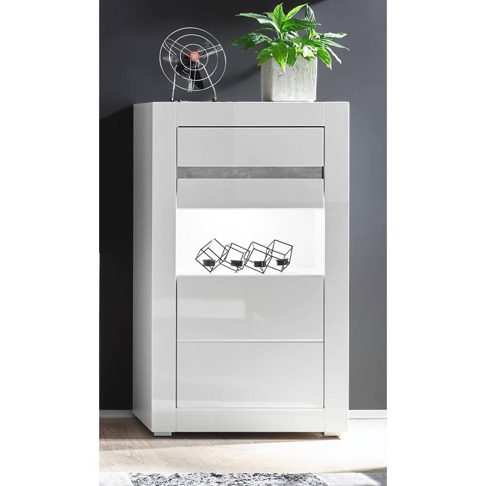 Kommode in Hochglanz weiß COGO-61 modernes Design mit Griffmulden und LED BxHxT: 66x112x35cm
