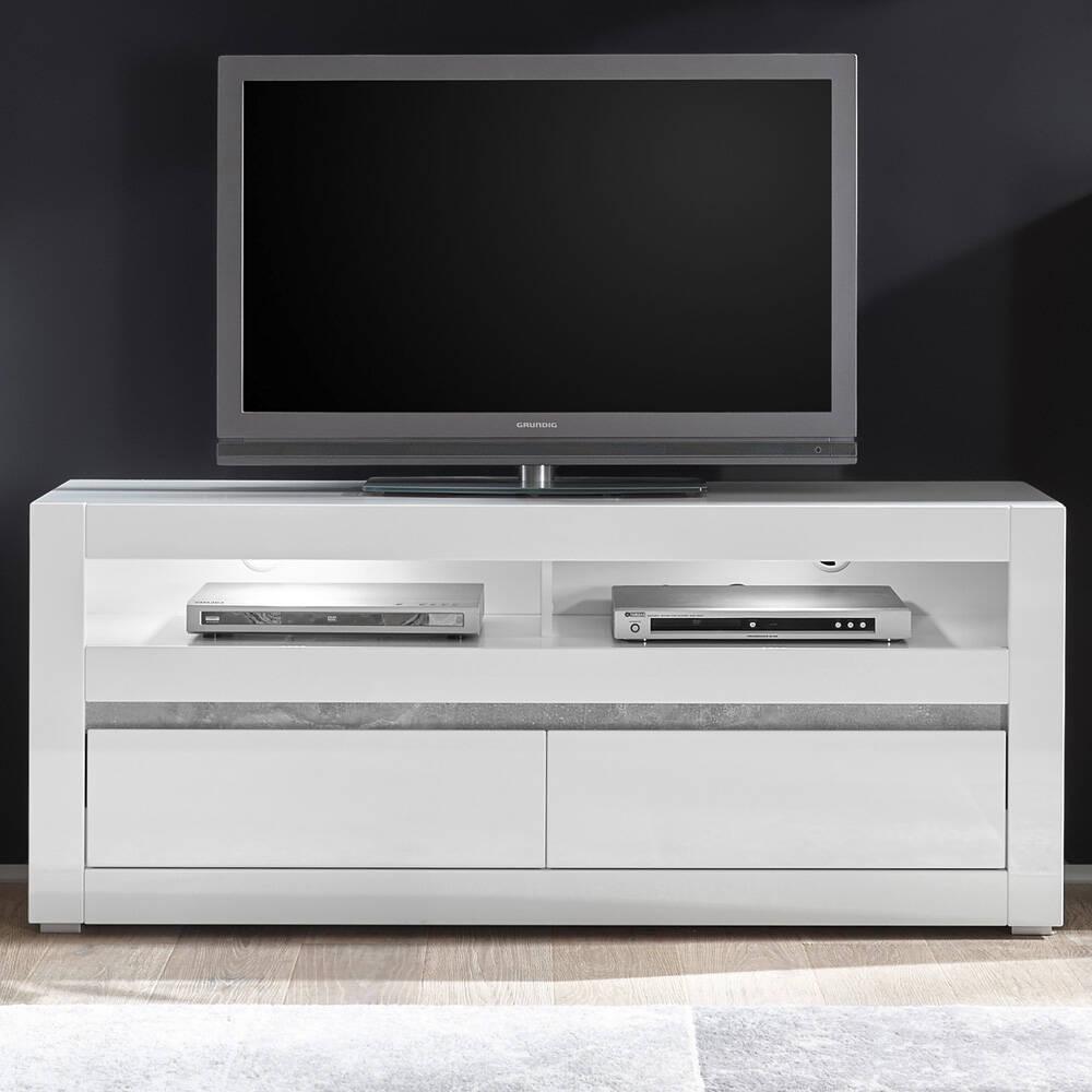 Modernes TV-Lowboard COGO-61 in weiß Hochglanz inkl. LED und Griffmulden in Betonoptik BxHxT: 150x63x42cm