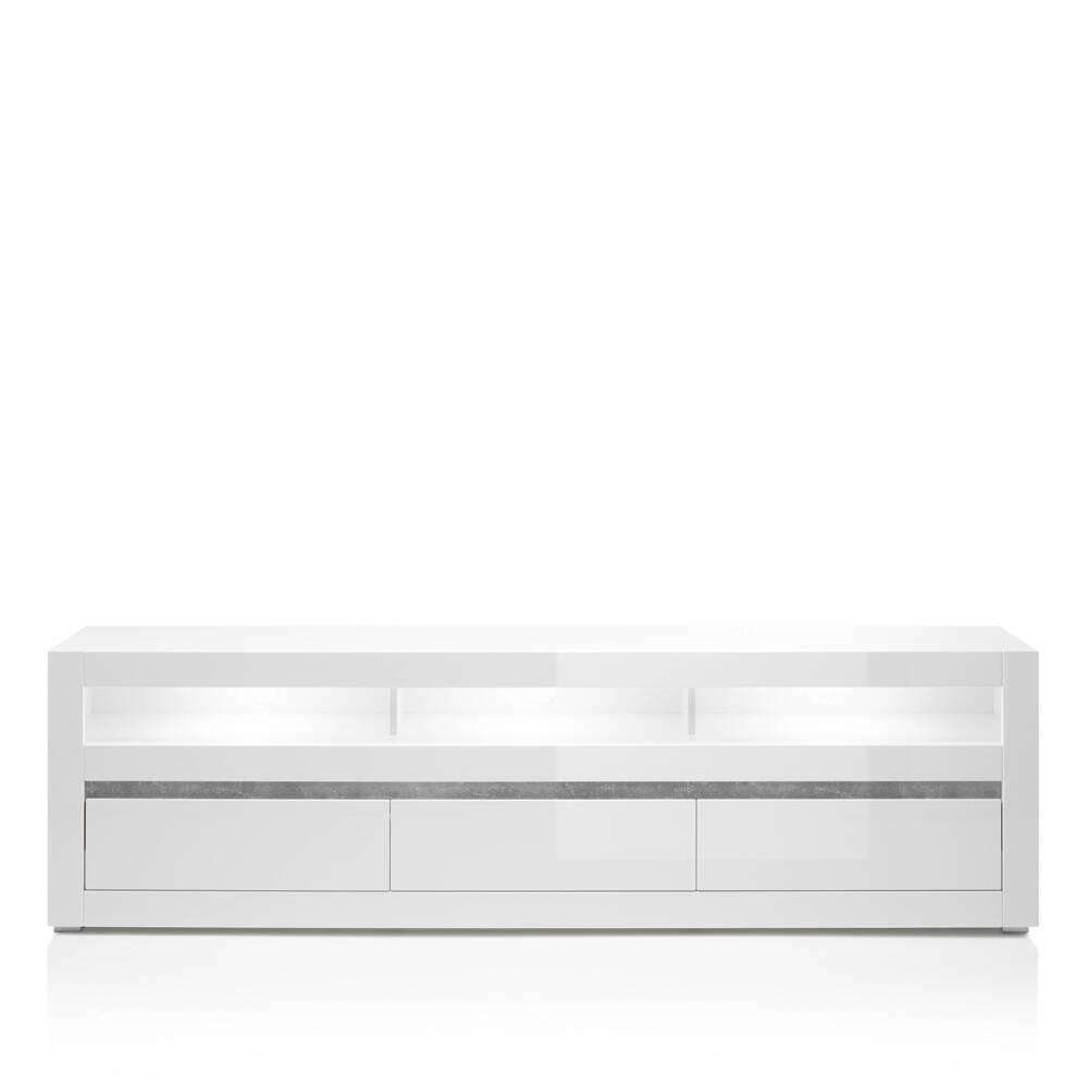 TV-Lowboard COGO-61 modernes Design in weiß Hochglanz inkl. LED und Griffmulden in Betonoptik BxHxT: 217x63x42cm