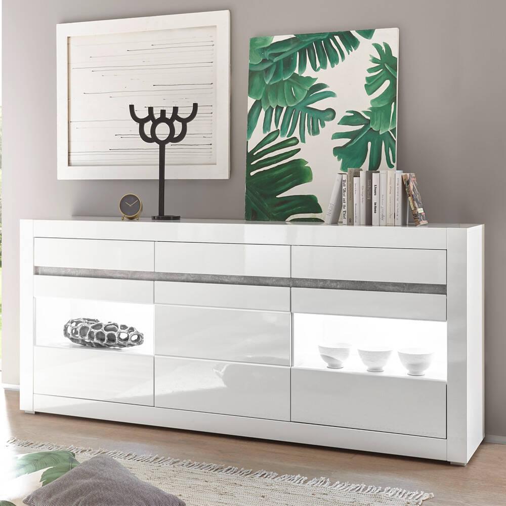 Sideboard in weiß Hochglanz COGO-61 inkl. LED und mit Griffmulden in Betonoptik BxHxT: 217x90x42cm