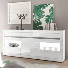 Sideboard in white high gloss COGO-61 incl. LED and with...