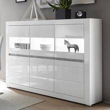 Showcase highboard in white high gloss incl. LED and with...