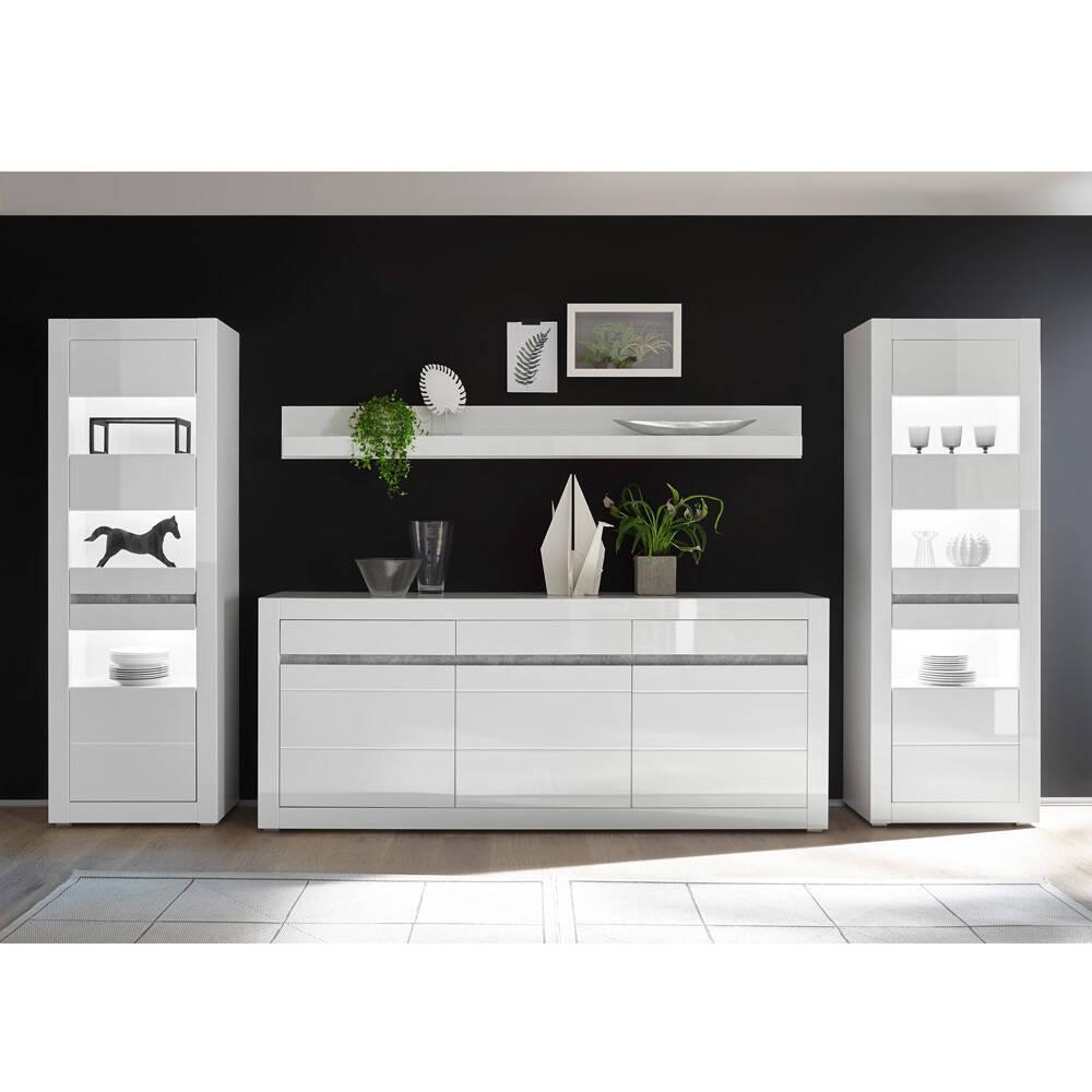 Wohnwand-Set mit Vitrinen inkl. LED und Sideboard in weiß Hochglanz COGO-61 BxHxT: 369x198x42cm