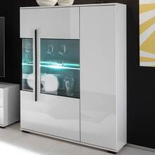 Highboard COLORADO-61 in white high gloss incl. LED with...