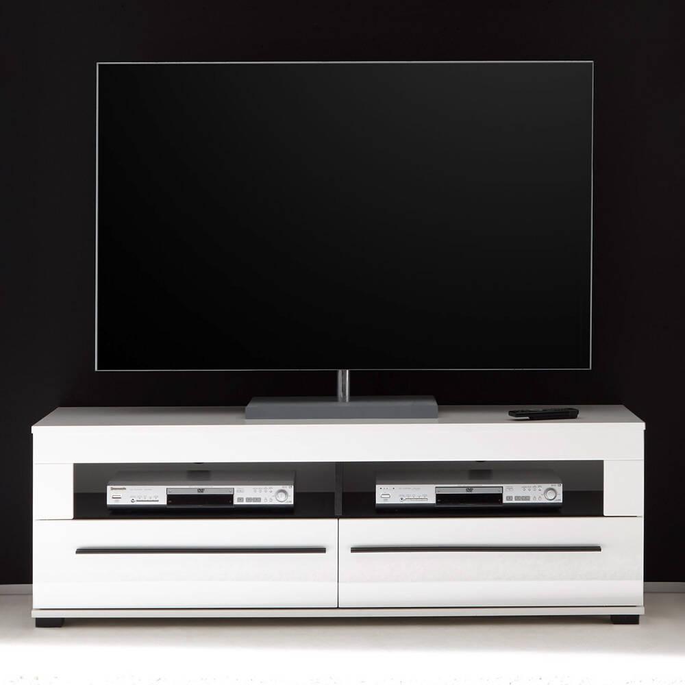 TV-Lowboard in Hochglanz weiß Hifi-Rack COLORADO-61 mit 2 Schüben BxHxT: 140x47x42cm