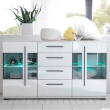 Sideboard incl. lighting COLORADO-61 in white high gloss...