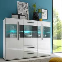 Modern highboard COLORADO-61 in white high gloss incl....