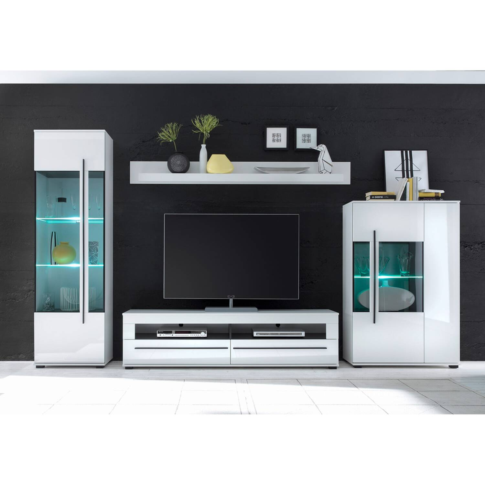 Moderne Wohnwand COLORADO-61 in weiß Hochglanz inkl. LED mit Glaseinsätzen aus Grauglas BxHxT: 360x200x42cm