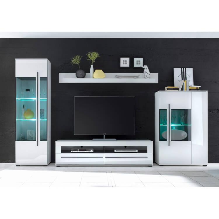 Moderne Wohnwand Colorado 61 In Weiß Hochglanz Inkl