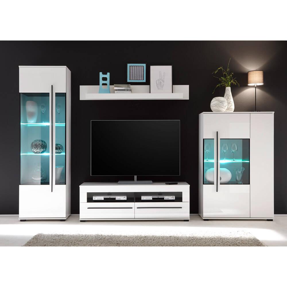 Wohnzimmer Wohnwand mit Glaseinsätzen in Grauglas COLORADO-61 in weiß Hochglanz inkl. Vitrine mit LED BxHxT: 320x200x42cm