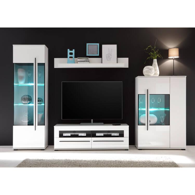 Wohnzimmer Wohnwand mit Glaseinsätzen in Grauglas COLORADO-61 in weiß