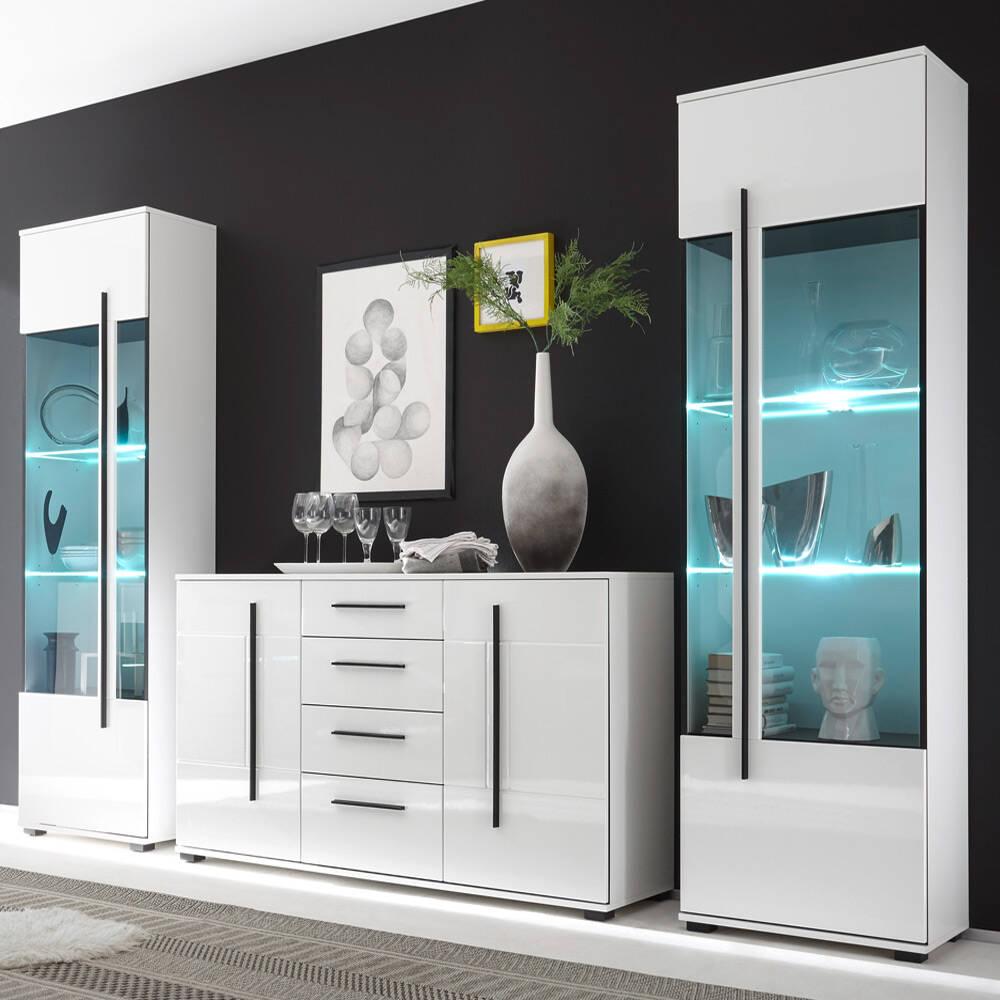 Wohnwand Set COLORADO-61 in weiß Hochglanz mit 2 Vitrinen inkl. LED und großem Sideboard BxHxT: 300x200x42cm